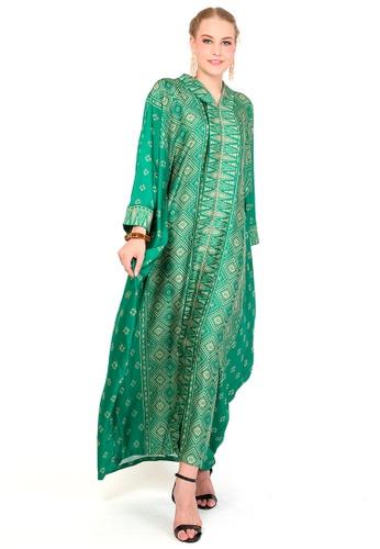 Kanzi by liza yahya green Kanzi Exclusive Long Sleeve Songket Kaftan 8EE1AAA57E2FB6GS_1