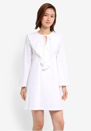 Mango white Openwork Trim Dress MA193AA0T0WUMY_1