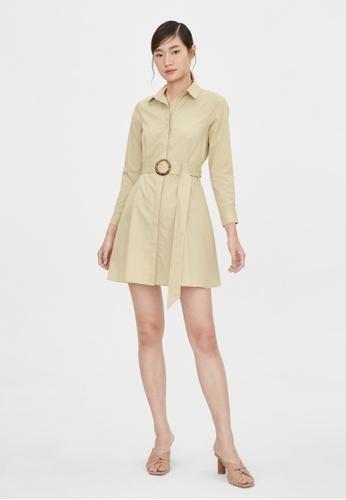 Pomelo beige Button Up Belted Dress - Beige B1E78AA756A3E0GS_1