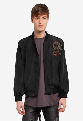 Flesh IMP black Dragon Patched Bomber Jacket FL064AA0RTOZMY_1
