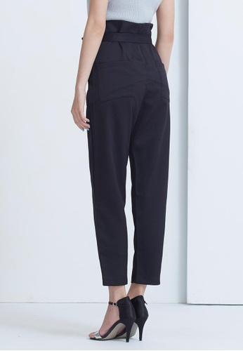 Kodz black High Waist Textured Wide Pants With Tie Waist 318B0AAB0C7338GS_1