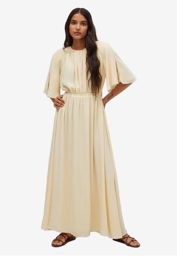 Mango yellow Pleated Long Dress 09E78AAE059BA7GS_1