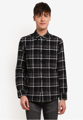 Topman black and grey Black Embroidered Check Shirt TO413AA0S5LJMY_1