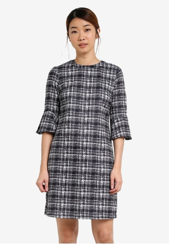 Dorothy Perkins black Printed Check Fit And Flare Dress DO816AA0SF9YMY_1