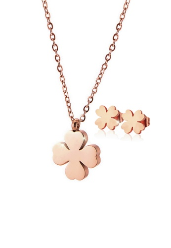 CELOVIS gold CELOVIS - Destiny Four Leaf Clover Necklace + Earrings Jewellery Set in Rose Gold BE4FAACCE90FFDGS_1