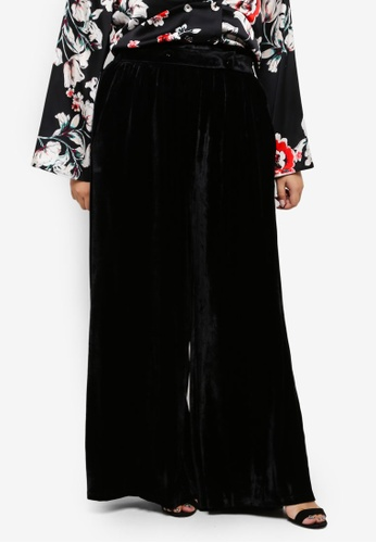 ELVI black Plus Size Velvet Trousers CC0FAAA12F2E05GS_1