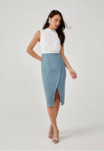 Love, Bonito blue Enyana Mandarin Collar Midi Dress 62EC2AAFF46F5CGS_1