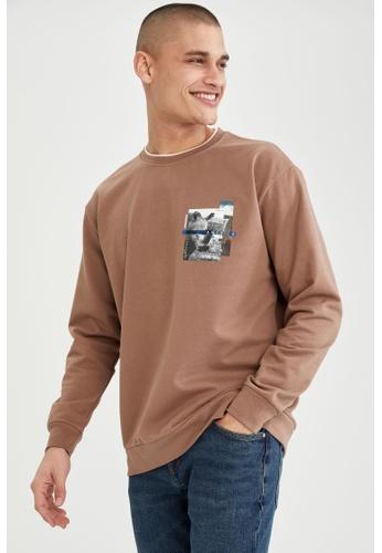 DeFacto brown Oversize Printed Sweatshirt 58813AA23DFE63GS_1