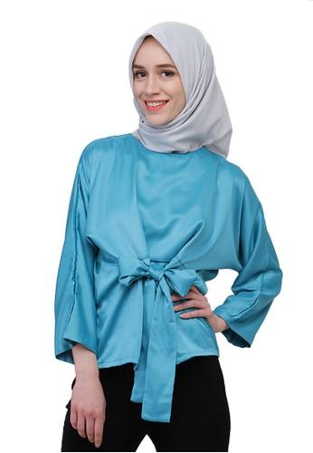 Satin Wrap Top Turquoise