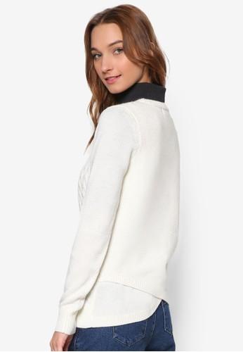 背部裹飾纜織暗紋羊毛長袖esprit taiwan衫, 服飾, 外套