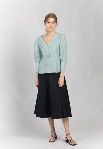 TAV white and blue [Korean Designer Brand] Cotton Pleats Puffy Long Sleeves Blouse - Blue DAC53AAEB08709GS_1