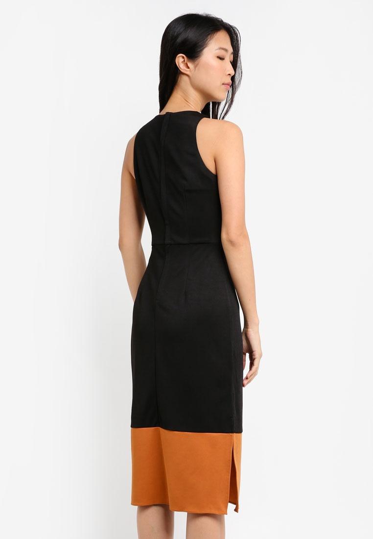 Caramel Block BASICS Colour Black Midi ZALORA Dress YadHxp