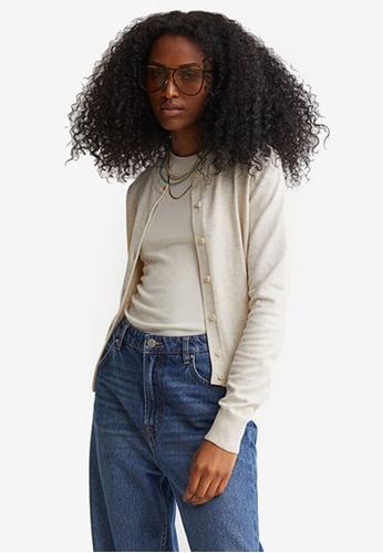 H&M beige Fine-Knit Cardigan D60A4AA7762842GS_1