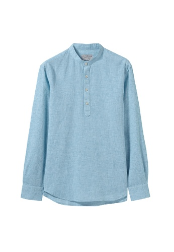 Giordano blue Men's Linen Half Placket Long Sleeve Shirt 91FB0AA61B4583GS_1