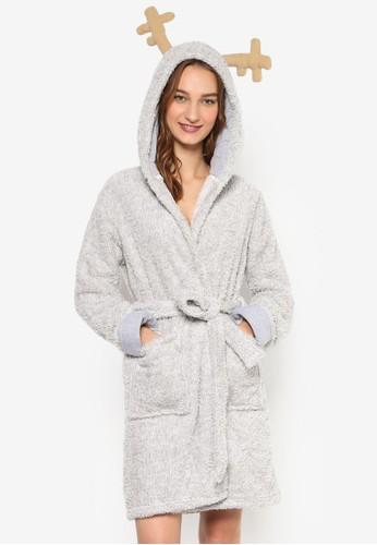 雙口袋毛esprit台北門市動物耳朵連帽睡袍, 服飾, 服飾