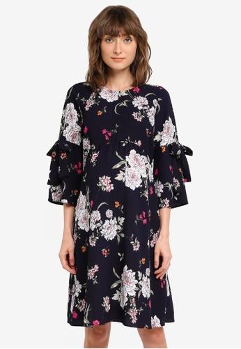 Dorothy Perkins navy Maternity Floral Print Flute Sleeve Dress DO816AA0ST0EMY_1