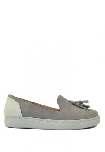 HDY grey and beige HDY Valencia Suede Slip-On Tassel Shoes HD484SH58PGBPH_1