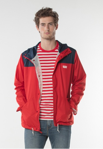 Levi's red and multi Levis® Pieced Vallejo Rain Jacket 4DF4EAAA433BAAGS_1