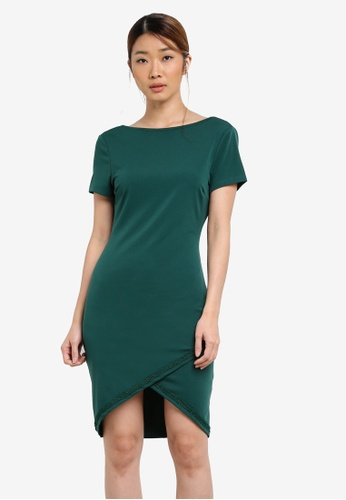 Something Borrowed green Lace Trim Low Back Bodycon Dress 6D288AA05F6BB5GS_1