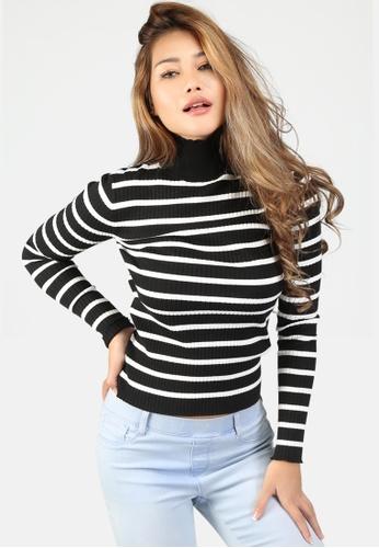 London Rag black Turtleneck Striped Sweater 4A889AA4FBF022GS_1