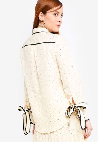 Zalia beige Contrast Piping Blouse 3B4B5AA3A08713GS_1