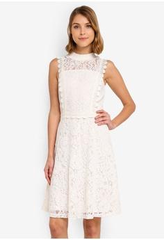 daf87fd6b Dorothy Perkins white Shirred Neck Lace Midi Dress 9C3B0AA80BAB9BGS 1