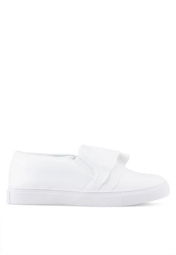 Velvet white Ruffle Slip Ons B2D4DSHF88897EGS_1