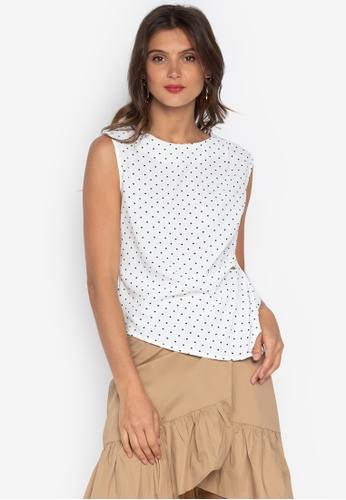 e2b033f99daed5 Shop F.101 Sleeveless Polka-Dot Blouse Online on ZALORA Philippines