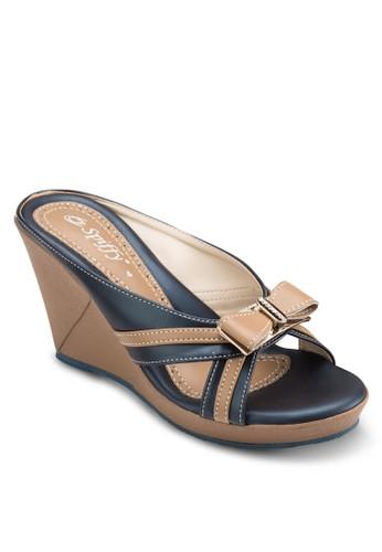 蝴蝶結楔型跟涼鞋esprit童裝門市, 女鞋, 鞋