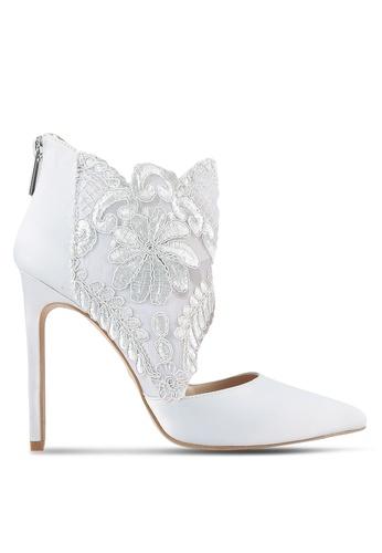 Velvet grey Lace Fabric High Heel 1DA7EZZ307EB74GS_1