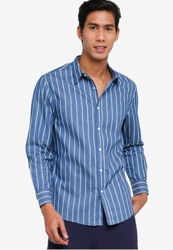 ZALORA BASICS blue Chambray Long Sleeve Shirt 3FAEDAA562DDC7GS_1