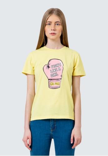 COLORBOX yellow Fight like a girl crew neck t-shirt B08B0AA56B87CDGS_1