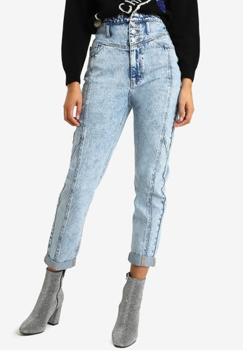 PIMKIE blue High Waist Mid Wash Jeans E03F7AA4FBF613GS_1