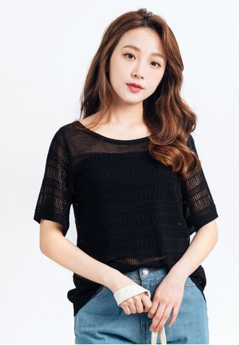Tokichoi black Cut-Out Knit Top TO550AA0ROZXMY_1