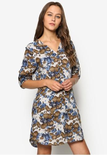 襯衫式花卉長袖esprit outlet hk連身裙, 服飾, 洋裝
