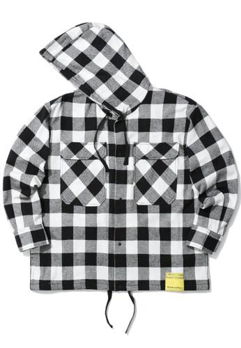 izzue white Checker hooded shirt CA958AA07503E3GS_1