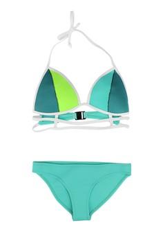 Tri Color Cage Neoprene Two Piece Swimwear