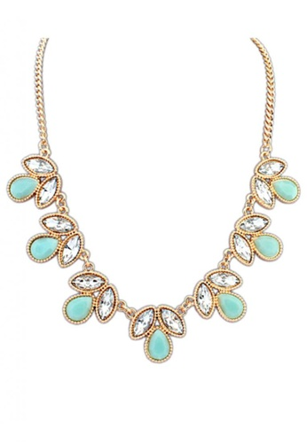 LOVENGIFTS green and gold LOVENGIFTS Tear Drop Crystal Statement Necklace (Teal) LI189AC53THIMY_1