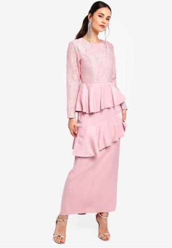 Zalia pink Asymmetrical Flounce Dress 884AEAA63D928BGS_1
