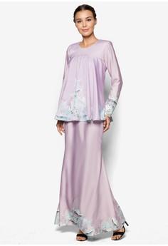 MINAZ for ZALORA pink Printed Peplum Kurung MI039AA08IVZMY_1