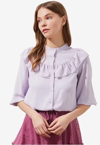 Trendyol purple Ruffle Detail Flounce Sleeve Blouse 53667AAB119B2BGS_1