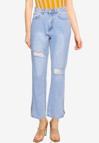 MISSGUIDED blue Highwaisted Straight Side Split Jeans C843CAA8786B01GS_1