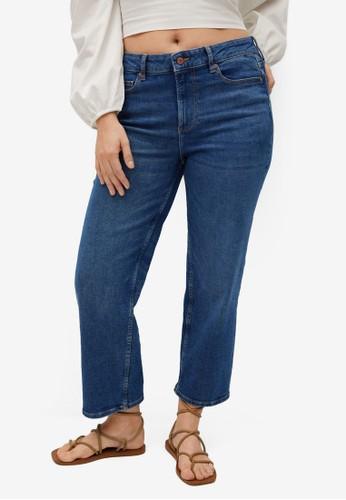 Violeta by MANGO blue Plus Size Straight Crop Jeans 115A4AA6463908GS_1