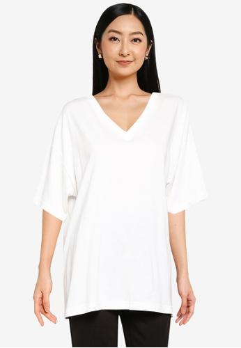 JEANASIS white Asymmetric T-Shirt 1D8E8AA38C34A5GS_1