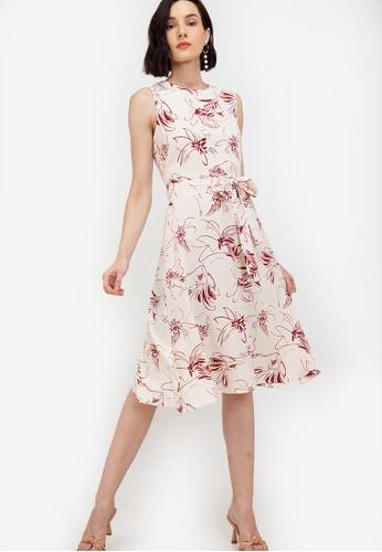 ZALORA WORK multi Sleeveless Dress With Slits BEE95AA8512D71GS_1
