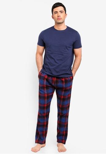 Burton Menswear London 海軍藍色 格紋睡衣組 21A00AA100A8B1GS_1