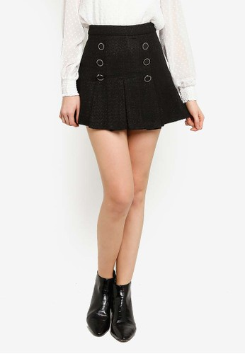 Saturday Club black Tweed Pleated Skirt With Button Front 09F39AAA66AE75GS_1
