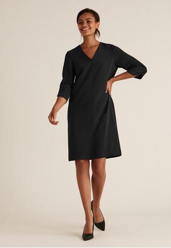 MARKS & SPENCER black M&S Crepe V-Neck Knee Length Shift Dress A67E2AA9D1E4EFGS_1