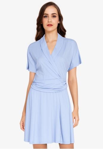ZALORA WORK blue Wrap Fit & Flare Dress A8F09AAEAD9435GS_1
