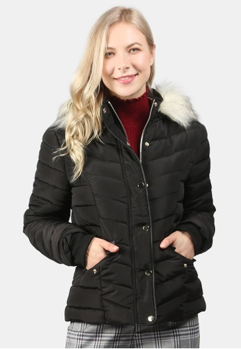 London Rag black Puffer Jacket With Faux Fur Hoodie 3A8CFAA4504303GS_1